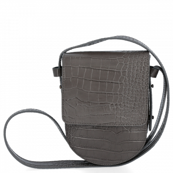 Talianska Kožená taška elegantné messenger bag Vittoria Gotti v šedej aligátor