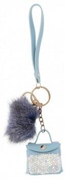 Kľúčová taška módna kabelka so strapcom a kamienkami Modrá