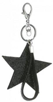 Obojstranné hviezdy taška Kľúčenka s kubickým zirkónom Čierna