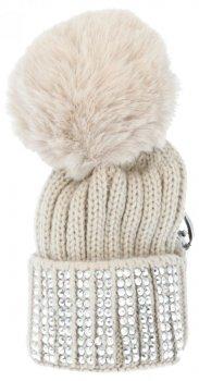 Kľúčenka pre tašky módne klobúk s kamienkami béžovej
