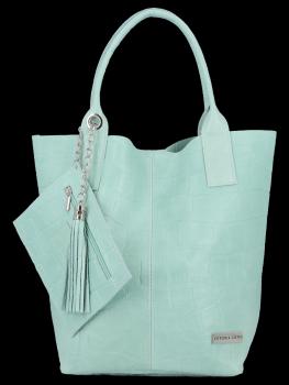 Univerzálna Kožená taška XL Shopper v štýle zvierat od Vittoria Gotti Mint