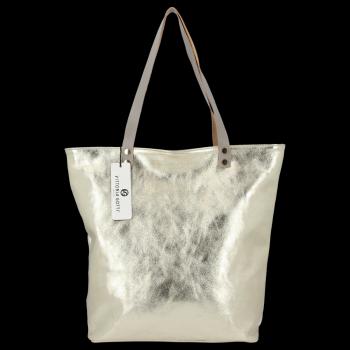 Módne kožené tašky taliansky Shopper taška od Vittoria Gotti Zloty