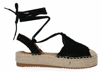 Čierna dámska platforma espadrille sandále od spoločnosti Bellica