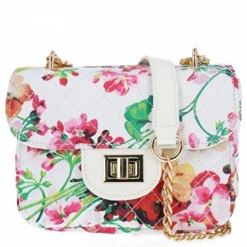 Módna dámska taška s Kvetinovou potlačou Herisson biela