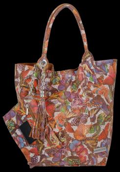 Shopper VITTORIA GOTTI Kožená taška vyrobená v Taliansku v motýle viacfarebná Červená