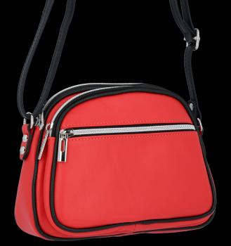 Talianska Kožená taška Messenger 2 priehradky Malina