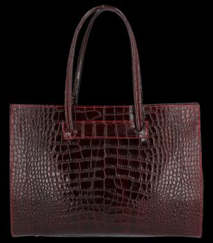 Vittoria Gotti klasické kožené tašky s aligátor vzor Aktovka A4 Burgundsko