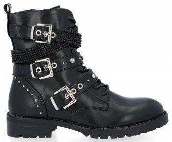 Čierne šnurovacie členkové topánky s prackami Laura