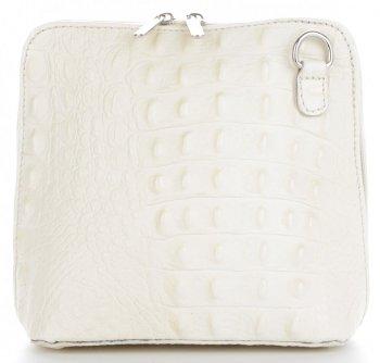 Talianska Kožená taška z pravej kože s krokodílovým vzorom béžová