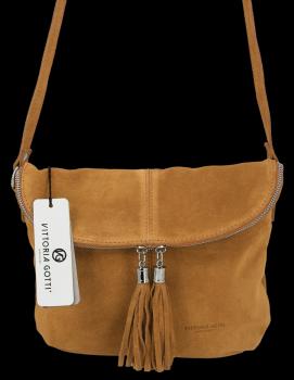Univerzálna kožená príležitostná taška na messenger veľkosť M od Vittoria Gotti svetlo červená