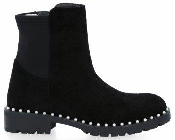 Čierne dámske kotníkové topánky s krištáľovými korálkami