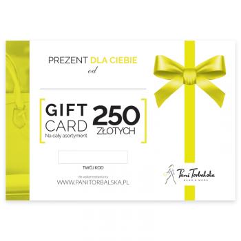 Darčeková karta v hodnote 250 PLN.