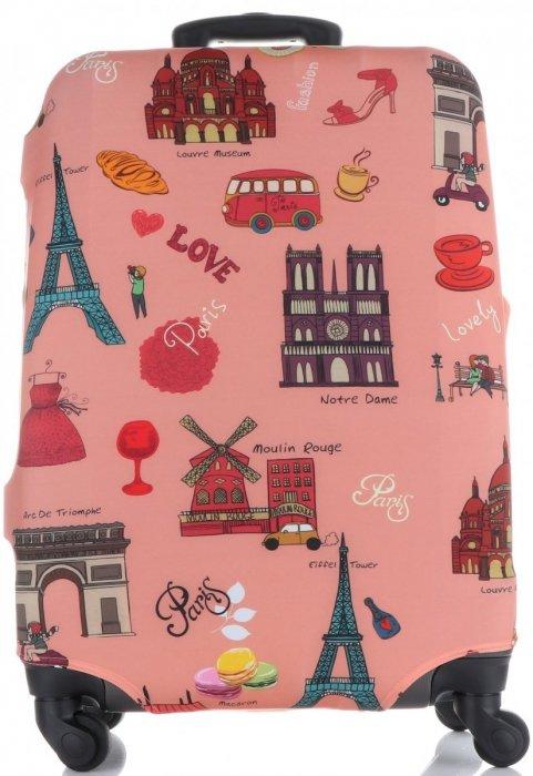 Obal na kufr Snowball L size Paris vícebarevný růžová