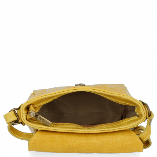 Vittoria Gotti Kožená Kabelka Listonoška s motivem želvy Žlutá