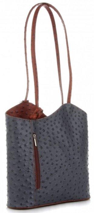 Klasické Kožené Kabelky Genuine Leather Šedá a hnědá