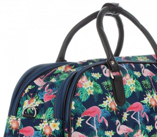 Průměrná cestovní taška kufřík Or&Mi Plameňáci Multicolor - Tmavě modrá