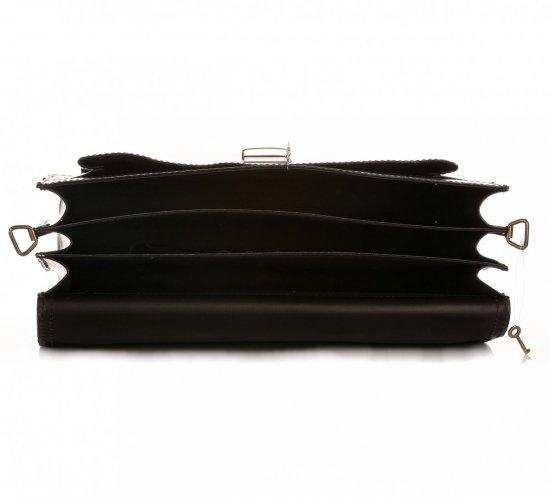 Velkápánská kožená aktovka 3 přihrádky černá