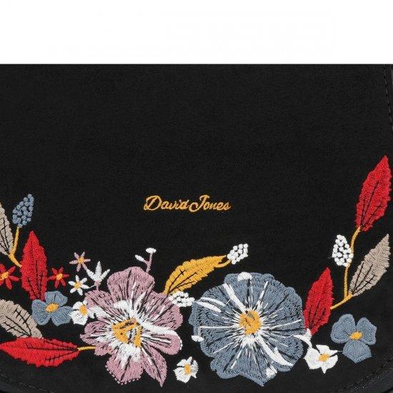 Módní Kabelka Listonoška květinový vzor David Jones Černá
