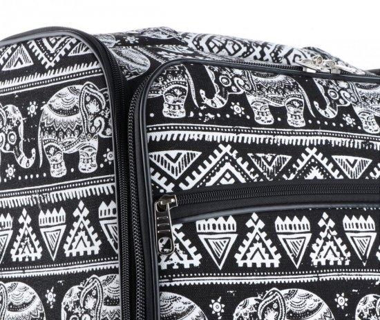 Palubní kufřík značky Or&Mi Egyptští sloni multicolor černá