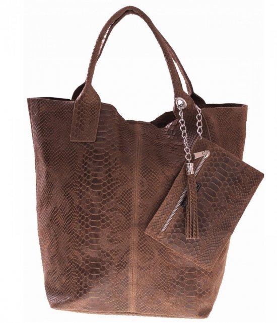 Włoskie Torebki skórzane typu Shopper bag Ziemia