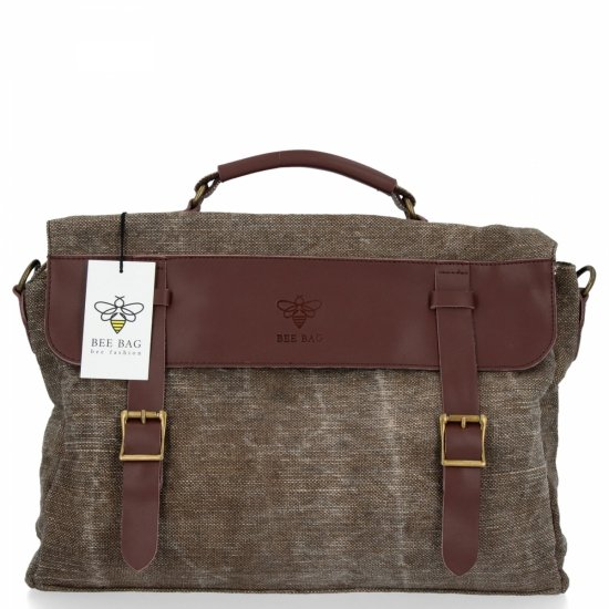 BEE BAG Uniwersalna Listonoszka Damska Vintage Style Brązowa
