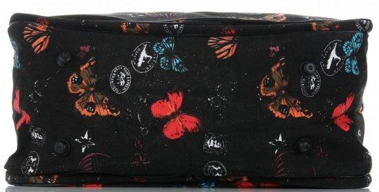 Średnia Torba Podróżna Kuferek Or&Mi wzór w motyle Multikolor - Czarna