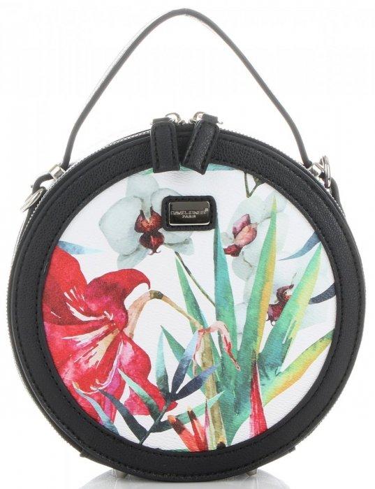 3bbb406e30f50 Okrągłe Torebki Listonoszki w Tropikalne wzory firmy David Jones Multikolor  Czarna