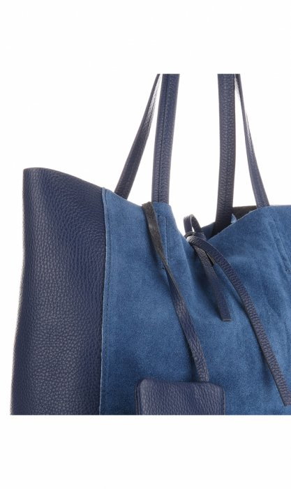 Torebki Skórzane VITTORIA GOTTI ShopperBag Niebieska - Jeans