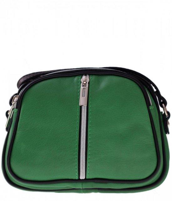 Listonoszki skórzane Genuine Leather 3 przegrody Zielona