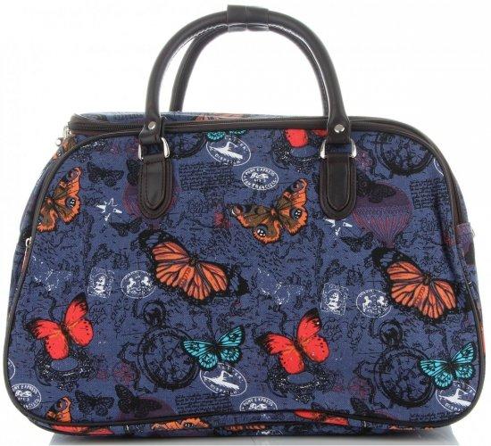 Średnia Torba Podróżna Kuferek Or&Mi wzór w motyle Multikolor - Niebieska