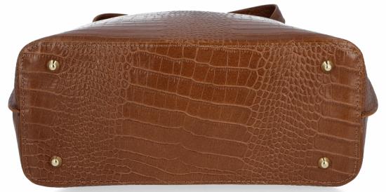 Vittoria Gotti Klasyczne Torebki Skórzane XL we wzór Aligatora Ruda