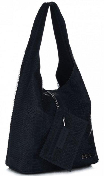Torebki Skórzane Vittoria Gotti Włoski Shopper XL wzór Aligatora Granatowa