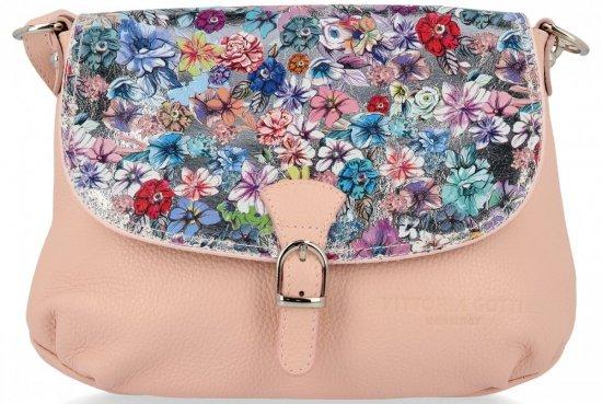 Vittoria Gotti Modna Listonoszka Skórzana we wzór Kwiatów Pudrowy Róż