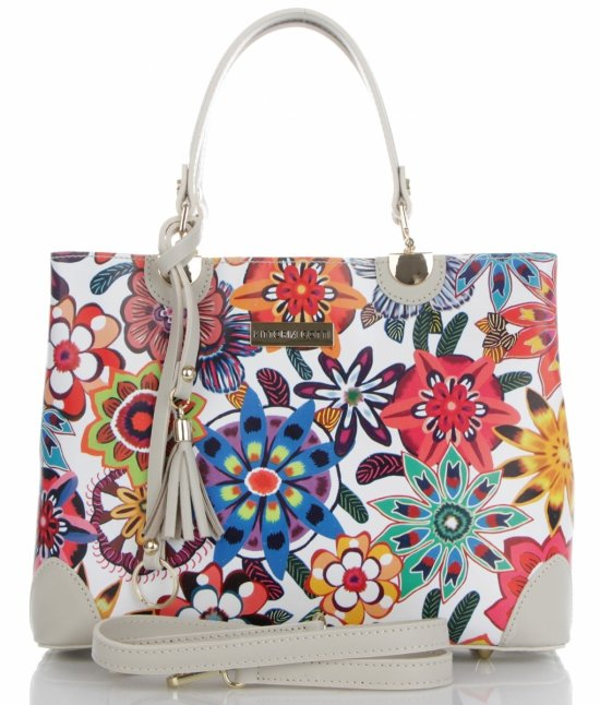 4a0e151e86fc6 Vittoria Gotti Modna Torebka Skórzana Elegancki Kuferek Made in Italy we  wzór kwiatów Multikolor Beż