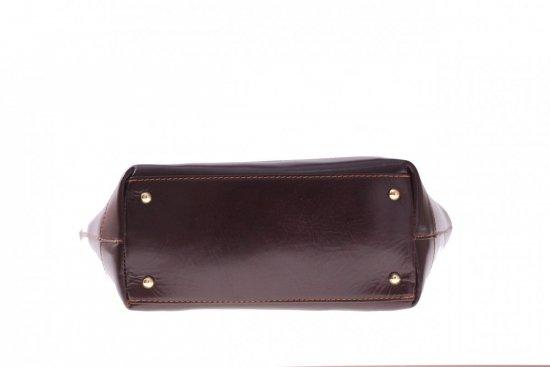 Modne Torebki skórzane typu Shopper bag łódka Czekolada