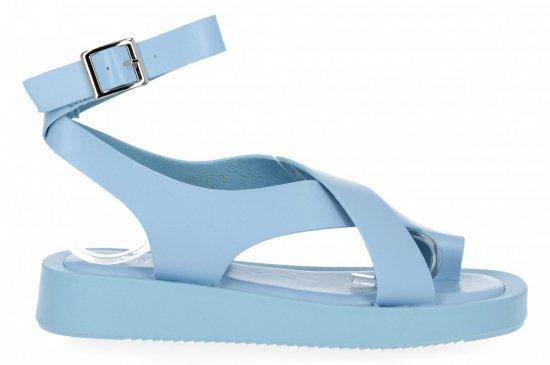 Niebieskie sandały damskie na platformie firmy Givana