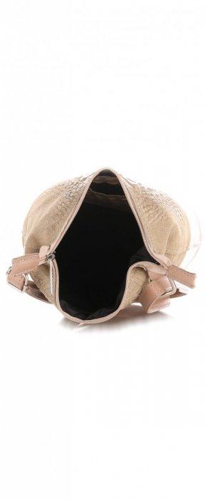 Listonoszka skórzana Genuine Leather Aligator Beżowa