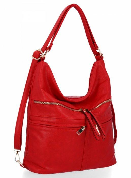 BEE BAG Uniwersalna Torebka Damska Lauren z funkcją plecaczka Czerwona