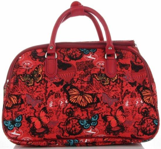Duża Torba Podróżna Kuferek Or&Mi wzór w motyle Multikolor - Czerwona