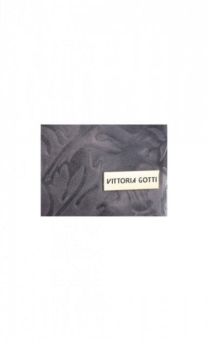 VITTORIA GOTTI Made in Italy Torebka Listonoszka Skórzana w Tłoczone Wzory Szara