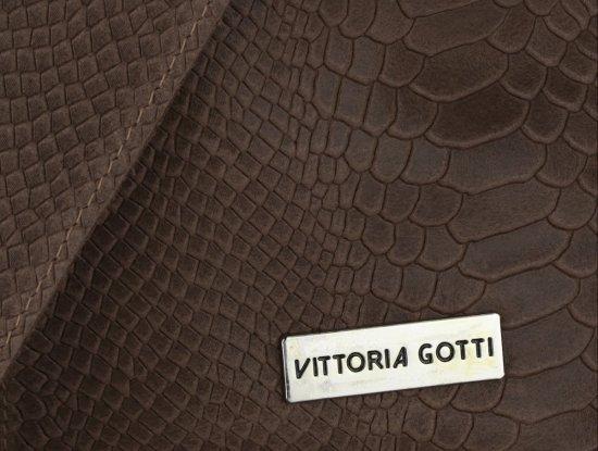 Torebki Skórzane Vittoria Gotti Włoski Shopper XL wzór Aligatora Czekoladowa