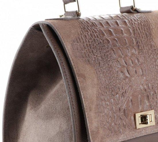 Elegancki Kuferek Skórzany Made in Italy wzór Aligatora Ziemisty