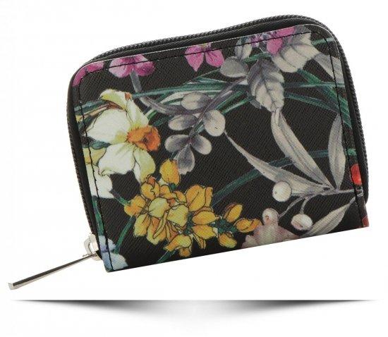 b6093ea5b5d6c Modny Portfel Damski firmy David Jones Wzór w Kwiaty Multikolor Czarny