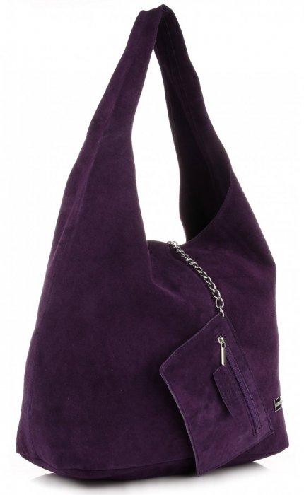 f87b4430d6c6c Oryginalne Torby Skórzane XL VITTORIA GOTTI Shopper Bag z Etui Fiolet -  Śliwka