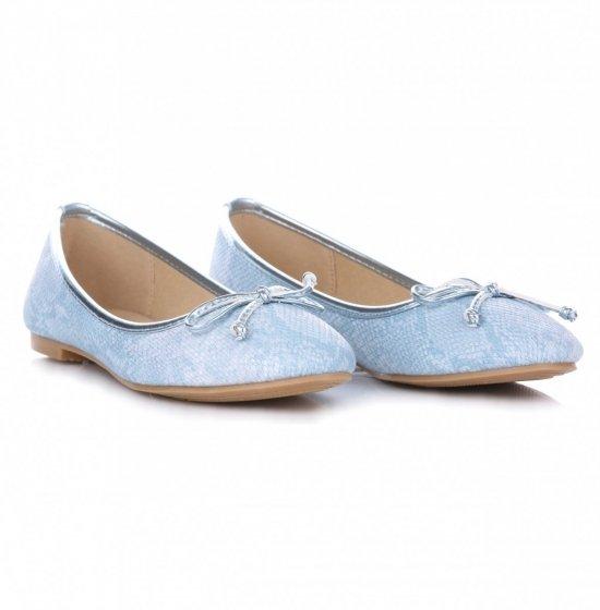 Eleganckie Baleriny Damskie Niebieskie