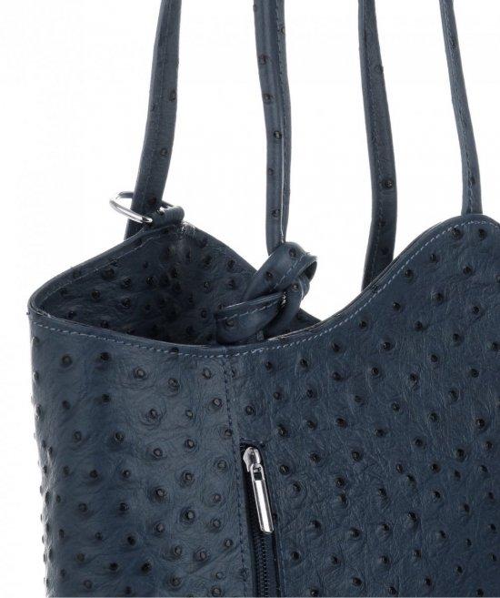 Włoska Torebka Skórzana firmy Genuine Leather Granatowa