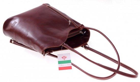 Torebka skórzana Plecaczek Made in Italy Brązowa