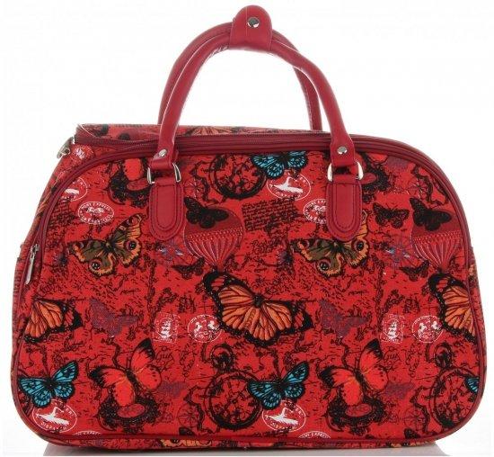 Mała Torba Podróżna Kuferek Or&Mi wzór w motyle Multikolor - Czerwona