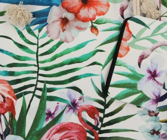 Modna Torebka Damska w rozmiarze XL wzór flaminga idealna na lato Zielona