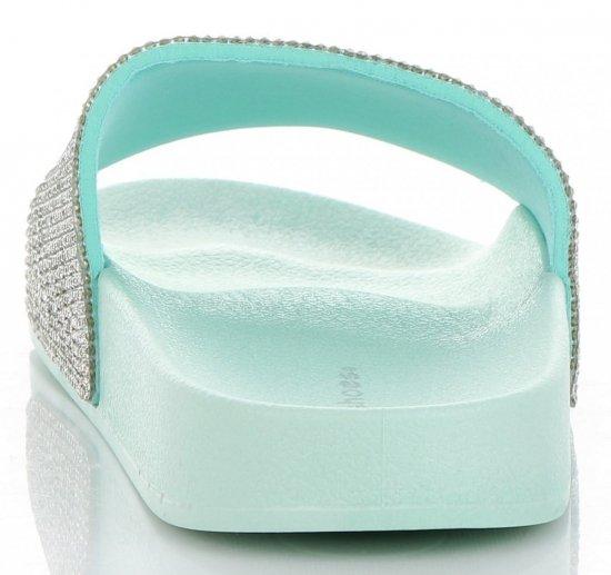 Stylowe Klapki Damskie z kryształkami firmy Ideal Shoes Miętowe